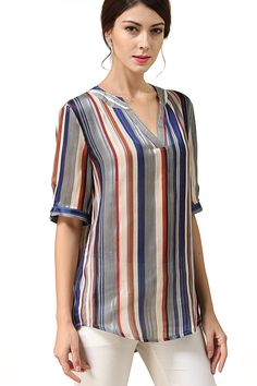 Women's Clothing, Tops & Tees, Blouses & Button-Down Shirts, Women's Multicolor Striped Chiffon Blouses V Neck Sleeves Top Shirts - Multicolor in Beige - & Button-Down Shirts Gown Dress Design, Mix Match Outfits, Metallic Pleated Skirt, Indian Gowns Dresses, Mode Plus, Fashion Sewing, Look Cool, Blouse Designs, Blouses For Women
