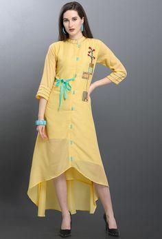 Pastel yellow ready made kurti. Churidar Designs, Kurti Neck Designs, Kurta Designs Women, Kurti Designs Party Wear, Blouse Designs, Stylish Dress Designs, Stylish Dresses, Fashion Dresses, Modest Fashion