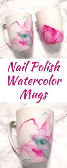 Create beautiful, original mugs in just MINUTES! Use any regular nail polish. The possibilities are endless for the cute craft!
