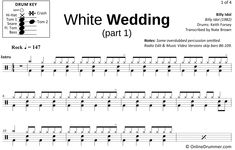 "Learn to play ""White Wedding"" with our note-for-note drum sheet music! Drum Sheet Music, Drums Sheet, Drum Key, Music Stand, Billy Idol, Ready To Play, Your Music, You Are Awesome, Music Videos"
