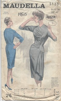 1950's Maudelli draped dress pattern 5133