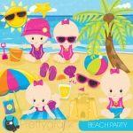 Beach baby Girl Clipart