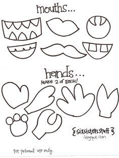 Kindergarten Printable hat templates | Paper Bag Puppets Crafts for Preschool and Kindergarten