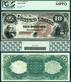 1880 $10 Legal Tender Note FR-101 PCGS Graded CU64EPQ Jack Ass Note Brown Seal FUN 1/2013 PLALRR