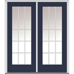 Milliken Millwork 74 in. x 81.75 in. Classic Clear Glass GBG Low-E Full Lite Painted Fiberglass Smooth Exterior Double Door, Naval