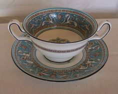 """Wedgwood Florentine Turquoise Footed 2-handled Cream Soup w/Saucer, 2-3/8"""". $31.95/pr each, 6 pairs available at theshypeddler on ebay, 4/21/16"""