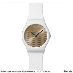 Polka Dots Pattern on Nacre Metallic May28th Watch