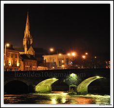 St Aidan's Cathedral and Bridge, Enniscorthy at Night by Liz Wildes