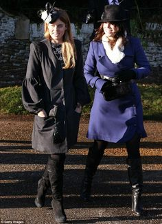 Seasonal sisters: Princesses Eugenie and Beatrice looked stylish and chic as they arrived at the church together