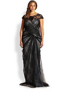 Tadashi Shoji, Sizes 14-24 Lace Overlay Gown (saksfifthavenue.com)