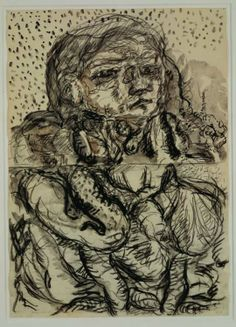 Georg Baselitz, 1966–1967, charcoal and wash on paper, 24 x 17.