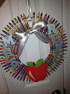 crayon wreath for my classroom door