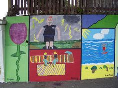 "Part of ""Patch-work"" Mural, painted by pupils, supervised/facilitated by Ellen. Berhampore School, Britomart Street, Berhampore, Wellington."