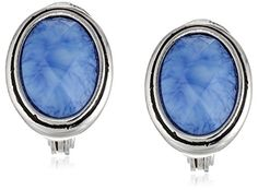 "Napier ""Denim Blues"" Silver-Tone and Denim Blue Button Clip-On Earrings"