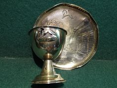 1924 Wembley Exhibition Metal Egg Cup & Kinco Coaster Dish Palace Of Engineering