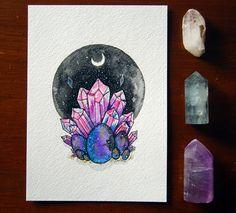 Original Watercolor, ink painting, 5x7, Easter, Eggs, Crystals, Space, Cosmic #watercolor #gem #stone #gemstone #crystal #watercolour #painting #art