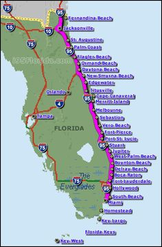 Interstate 95 Florida Map | Orlando - Key West 650 km