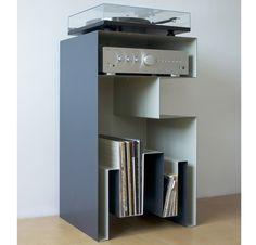 Design Vinyl / Turntable furniture full steal by Gaelle Pinel Meuble pour vinyles de Gaelle Pinel
