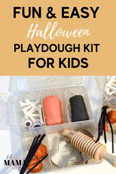 This Halloween Play dough Kit and Halloween sensory bin is the perfect preschool activity. Making your own Halloween sensory box is a breeze!