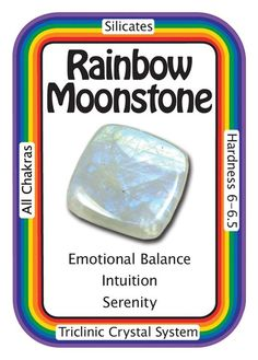 """healingcrystals-crystaltalk:  Crystal Card of the Day: Rainbow Moonstone, """"I am balanced and in tune with my emotions."""" Sometimes known as White Labradorite, Rainbow Moonstone connects us to  Divine Inspiration, and channels it into our own intuition. Working with  Rainbow Moonstone encourages introspection and judgment, yielding  easier decision making. It also enhances one's emotional vision,  bringing greater creative abilities and  freedom of expression. These properties are also…"""