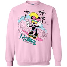 Minnie Mouse Catch A Wave Sweatshirt - UnicornAZ - Fortnite, Sport, Trending apparel Bnf, Graphic Sweatshirt, T Shirt, Digital Prints, Minnie Mouse, Size Chart, Waves, Sport, Guys