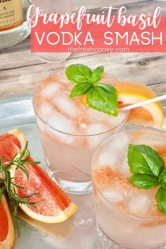A simple recipe for an all natural, refreshing, bright and delicious cocktail (or mocktail) using ruby red grapefruit, fresh basil and a fizzy grapefruit soda. This Grapefruit Basil Vodka Smash is the perfect drink for a hot summer evening or a crisp afternoon. Recipe @thefreshcooky |   #cocktail #spritzer #drinks #grapfruitbasilvodka #summerdrink #basil #vodka #cocktail #holiday