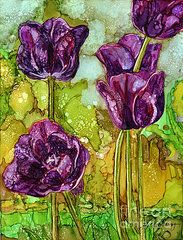 Alcohol Ink Wall Art - Painting - Dark Tulips by Vicki Baun Barry Alcohol Ink Crafts, Alcohol Ink Painting, Alcohol Ink Art, Art Floral, Floral Artwork, Tulip Painting, Flower Art, Art Flowers, Art Journals