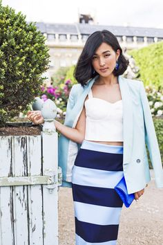 Blazer + bustier + pencil skirt // chic summer look