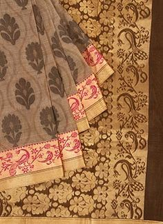 Taupe Grey Pure Silk Pothys Saree