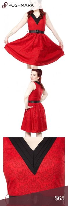 Folter Retrolicious NWT red skull Halloween dress Brand new Folter / Retrolicious dress. Red with black neckline and belt. Pattern is skulls. This is SO CUTE. Fully lined, great quality dress. Size S. ModCloth Dresses