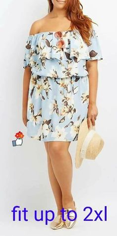 b31af8c17050 Fresh and flirty floral makes this chic woven dress! Fluttery ruffles make  the short sleeves and off-the-shoulder silhouette, while a cinched elastic  waist ...
