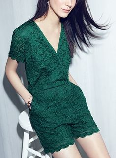 Gorgeous green lace fabric puts an ultrafeminine spin on this glam romper.