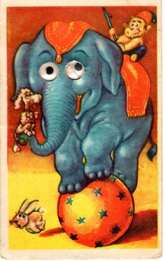 Vintage moving eyes postcard, elephant, monkey, dog and rabbit, 50's