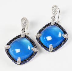 RINA LIMOR earrings in blue chalcedony, sapphires and diamonds