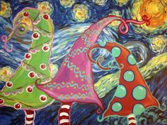 Van Gogh's Starry Night meets Dr. Seuss Whimsical Trees. This is the art project my Students are painting for Christmas this year.