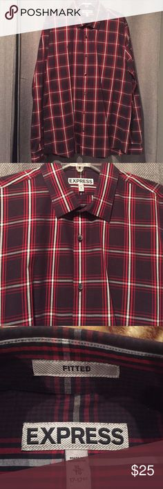 Express Fitted XL long sleeve Express Fitted dressing shirt great for a casual look or dressed up. Great condition. Red checkered with white lines Express Shirts Casual Button Down Shirts