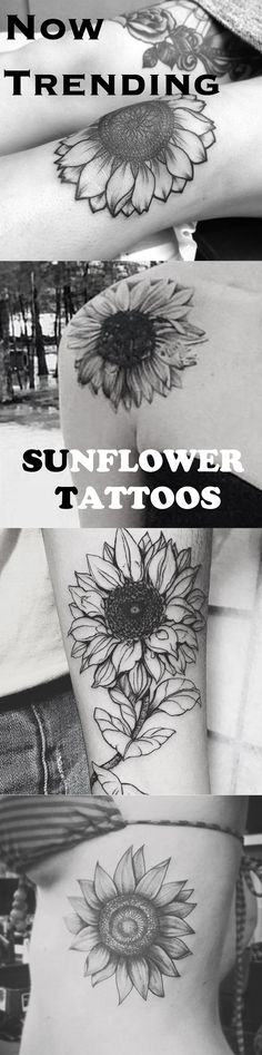 Sunflower Tattoo Ideas for Women - Black and White Floral Flower Fore Arm Shoulder Knee Leg Rib