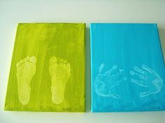 hand foot prints in color on canvas