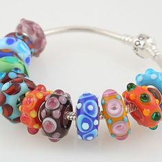 stacked dot beads   Bumpy Glass Bead Rings