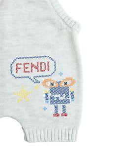 fendi - kids-girls - rompers - monster cotton tricot overalls