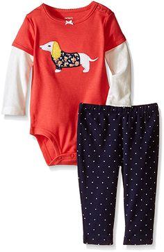 Carter's Baby Girls' 2 Piece Graphic Bodysuit Set (Baby) - Dog - 3 Months