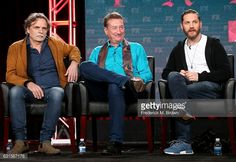 PASADENA, CA - JANUARY 12: Creator/executive producer/writer Steven Knight (L) and creator/executive producer/actor Tom Hardy of the television show 'Taboo' speak onstage during the FX portion of the 2017 Winter Television Critics Association Press Tour at Langham Hotel on January 12, 2017 in Pasadena, California (Photo by Frederick M. Brown/Getty Images) #tomhardy #taboo