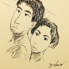 I drew a woman and a man using ball-point pen.