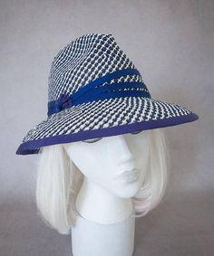 Navy Straw Sun Hat. Women s Fedora. Fresh Summer Hat. Toyo Paper Straw.  Ladies Wide Brim Hat Under 100. Beach Hat. Airy Blue   White Fedora ff9b47c83cf2