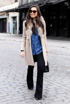 fall / winter - street style - street chic style - winter outfits - casual outfits - work outfits - camel fur collar coat + denim shirt + black flare pants + black stilettos + black handbag + brown sunglasses