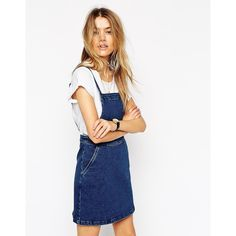 ASOS Denim Aline Pinafore Dress ($19) ❤ liked on Polyvore featuring dresses, blue, white day dress, white denim dress, square neckline dress, blue pinafore dress and blue white dresses