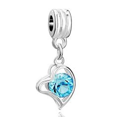 BESTSELLER! Pugster Classic March Birthstone Heart Dangle Bead Fit Pandora Charm & Bracelet $0.49
