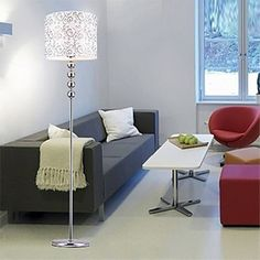 Stylish Modern White Floor Lamp with Floral Pattern – LightSuperDeal.com