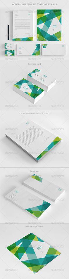 Modern Green Blue Stationery - Stationery Print Templates Web Design, Logo Design, Letterhead Design, Design Poster, Identity Design, Design Cars, Corporate Design, Corporate Branding, Business Card Design