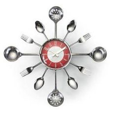 Kitsch'n Clock- Red/Silver Retro Sunburst Clock